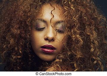 piękny, fason, amerykanka, samiczy afrykanin, wzór