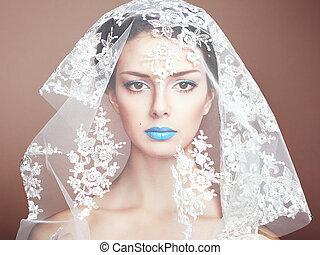 piękny, fason, fotografia, pod, biały, welon, kobiety