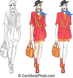 piękny, fason, górny, torba, wektor, wzór, kapelusz, dziewczyna
