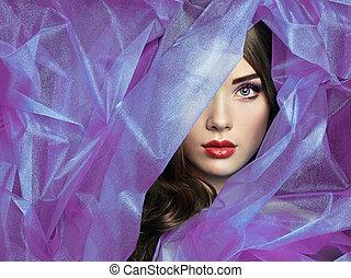 piękny, fason, purpurowy, fotografia, pod, welon, kobiety