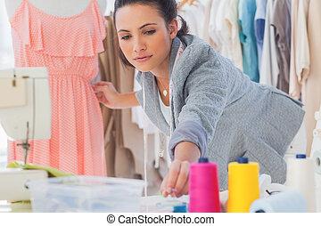 piękny, fason, zamocowywanie, strój, projektant