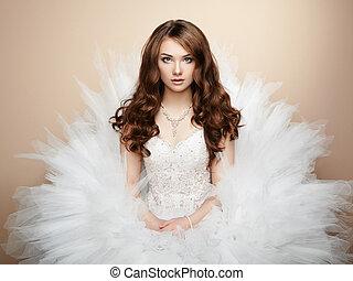 piękny, fotografia, bride., portret, ślub