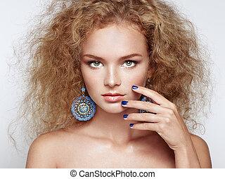 piękny, fryzura, kobieta, młody, elegancki, fason, portret