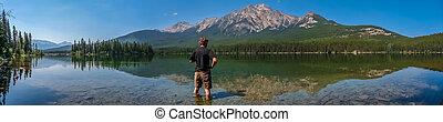 piękny, góra, columbia, natura, jezioro, brytyjski, kanada, krajobraz