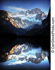 piękny, góra, góry, panorama, jezioro, dachstein