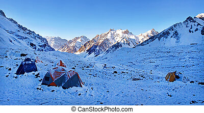 piękny, góra, himalaje, obóz, wysoki, krajobraz