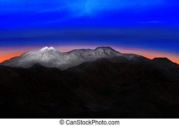 piękny, góra, korzystać, ziemia, barwny, natura, lekki, niebo, śnieg, rano, dramatyczny, pagórek, tło, eskapada, świt, zasłona, przed