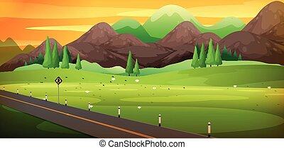 piękny, góra, okolica, scena, droga