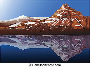 piękny, góra, tło