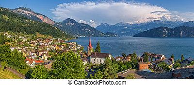 piękny, góra, weggis, krajobraz, jezioro, wieś, szwajcaria, lucerna