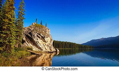 piękny, górskie jezioro, jaspis, świt, krajobraz