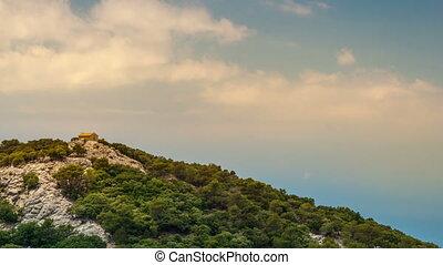 piękny, góry, mały, skalisty, dom, krajobraz