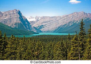 piękny, góry, skalista góra, jezioro, krajobraz