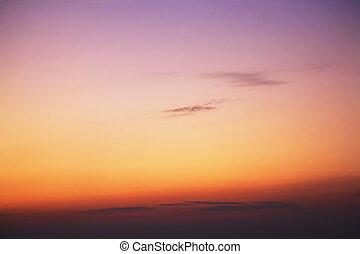 piękny, góry, wielki, zachód słońca, dymny