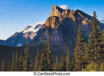 piękny, góry, zachód słońca, skalisty, krajobraz