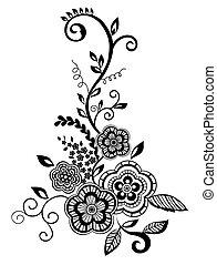 piękny, guipure, biało-czarny, element, embroidery., projektować, imitacja, kwiatowy, kwiaty, liście, element.