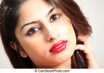 piękny, indianin, dama, młody