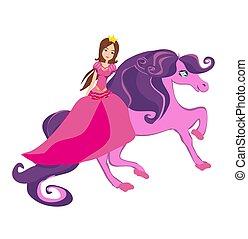 piękny, jeżdżenie, koń, księżna, bajeczka