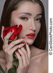 piękny, jej, piękno, róża, rose., odizolowany, szary, znowu, dzierżawa, portret, twarz, kobiety