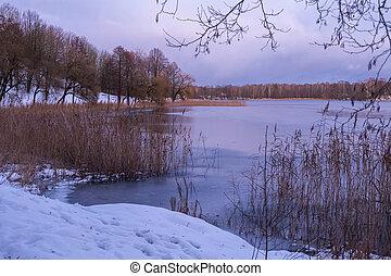 piękny, jezioro, krajobraz, wieczorny, time., zima