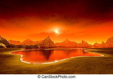 piękny, kaprys, na, zachód słońca ocean