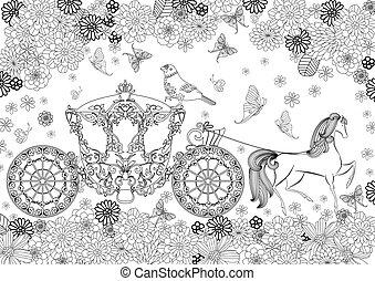 piękny, kolorowanie, otoczony, wóz, książka, kwiaty, twój
