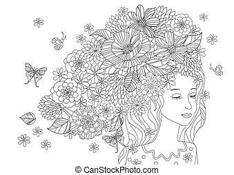 piękny, kolorowanie, twój, włosy, dziewczyna, kwiaty, strona