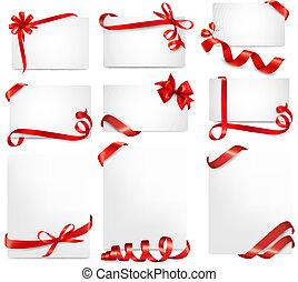 piękny, komplet, dar, schyla się, wektor, bilety, wstążki, czerwony