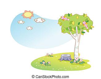 piękny, krajobraz, drzewa