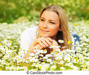 piękny, kwiat, kładąc, samica, wkładany