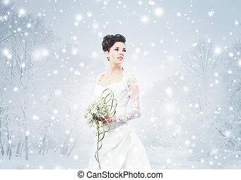 piękny, kwiat, zima, bukiet, młody, dziobowy, panna młoda