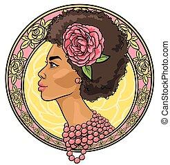 piękny, kwiatowy, kobieta brzeg, portret