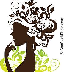 piękny, kwiaty, kobieta, sylwetka, ptak