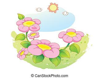 piękny, kwiaty, krajobraz