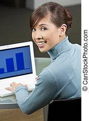 piękny, laptop, wykonawca, komputer, asian samica, używając