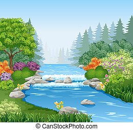 piękny, las, rzeka, góra