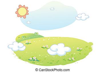 piękny, lato, krajobraz