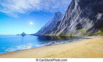 piękny, lato, piasek plaża