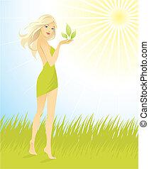 piękny, liść, dziewczyna, zielony