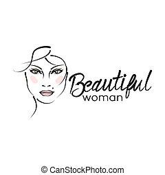 piękny, logo, nowoczesny, kobieta