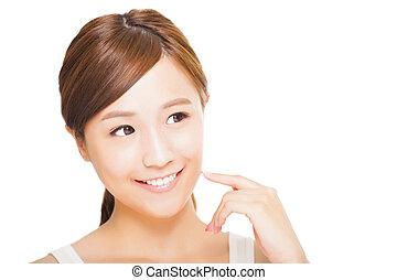 piękny, młody, twarz, kobieta, asian
