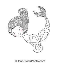 piękny, mały, mermaid., siren.