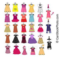 piękny, mały, odzież, dziewczyny, modny