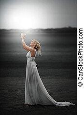 piękny, magia, fairy., dziewczyna, strój, biały