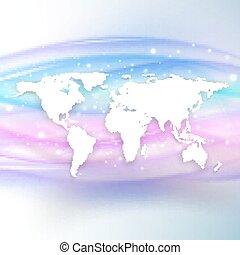 piękny, mapa, sylwetka, ilustracja, machać, tło, wektor, świat, biały, cień