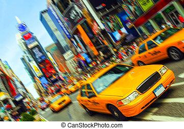 piękny, miasto, wszystko, skwer, taksówka, wibrujący, czasy, ruch, blur., york, trademarks, nowy, logo, zamazany, na zewnątrz.