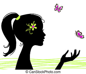 piękny, motyl, dziewczyna, sylwetka