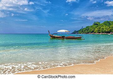 piękny, motyw morski, łódka