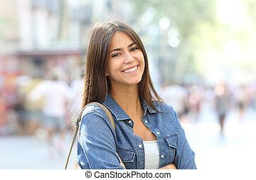 piękny, naście, doskonały, portret, uśmiech