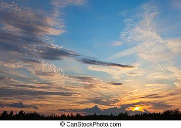 piękny, niebo, chmury, zachód słońca